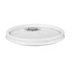 White PE Cover for 5 Gallon Pail w/Rieke Fitting, UN Rated {Each}