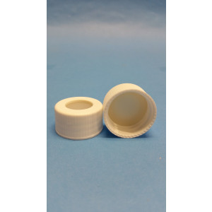 "ST2373 .120"" (3mm) Thick, Tan PTFE/White Easy Pierce Ultra Low Bleed Silicone Bonded into a White 24-414 Screw Cap (500/pk)"