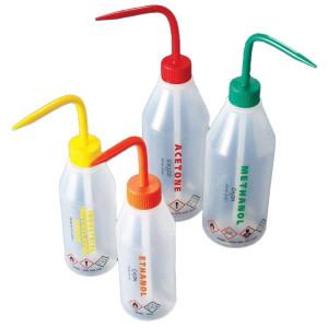 Wash Bottle, Acetone, 500mL, LDPE, Sloped Shoulder, RED Screwcap, 5/Unit