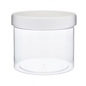 32oz Clear Polystyrene Straight Sided Jar assembled w/ 120-400 White PP F217 Lined Cap (45/cs)