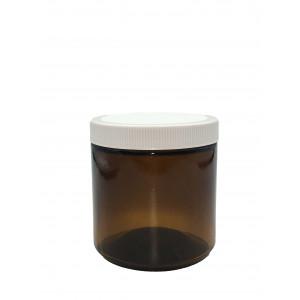 16oz Amber Straight Sided Jar Assembled w/89-400 Black F-217 Lined Cap (12/cs)