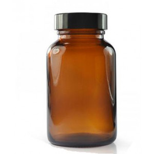120mL Amber Wide Mouth Packer Assembled w/38-400 Black Phenolic Poly Cone Lined Cap (24/cs)