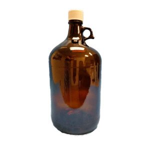 128oz/4Liter Amber Ring Handled Jug Assembled w/38-439 White PP PTFE Lined Cap (6/cs)