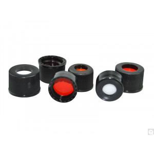 8-425mm Black Cap w/Installed Red PTFE/Silicone Septum {FOR USE} w/Narrow Opening 8mm Threaded Vials (100/pk)