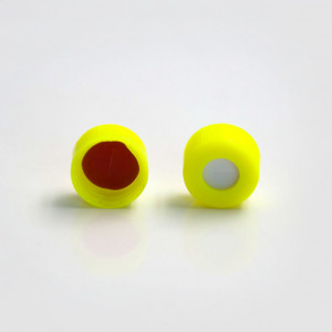 Yellow Cap w/PTFE/Silicone Septa for 9mm Threaded GC Vials (100pk)