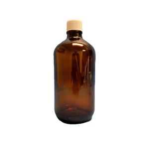 1 Liter Amber Boston Round {Precleaned&Certified} (12/cs)