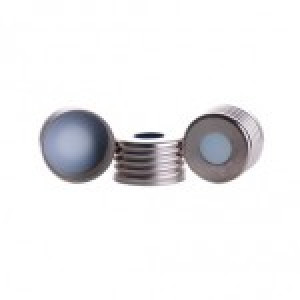 "16mm Screwtin Cap with Blue PTFE/WHITE Silicone, 0.0060"" Thick Septa (100pk)"