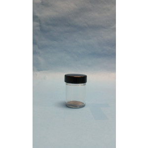 1.25oz Clear Straight Sided Jar Assembled w/38-400 Black Phenolic Poly Cone Lined Cap (288/cs)
