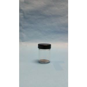 1.25oz Clear Straight Sided Jar Assembled w/38-400 Black Phenolic Poly Cone Lined Cap (288/cs)