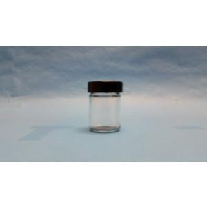 1.25oz Clear Straight Sided Jar Assembled w/38-400 Black Phenolic Poly Cone Lined Cap (336/cs)