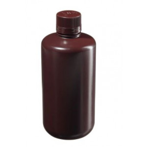 1000mL Narrow Mouth Amber HDPE Bottle, 38mm Amber PP Screw Thread Closure (24/cs)