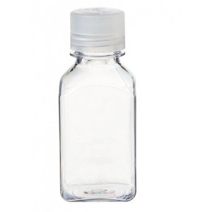 250mL Square Polycarbonate Bottle, 38-430 PP Screw Thread Closure (48/cs)