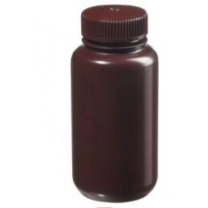250mL Wide Mouth Amber HDPE Bottle, 43mm Amber PP Screw Thread Closure {Lab Grade} (72cs)