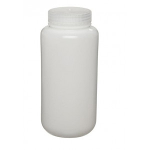 250mL Fluorinated Wide Mouth HDPE Bottle, 43mm HDPE Screw Thread Closure (72/cs)