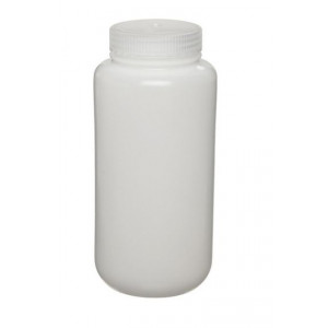 500mL Fluorinated Wide Mouth HDPE Bottle, 53mm HDPE Screw Thread Closure (48/cs)