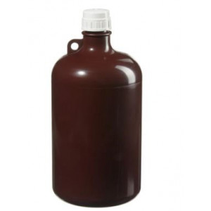 8L Large Narrow Mouth Amber Bottle, 38-430 Amber PP Screw Thread Closure (6/cs)