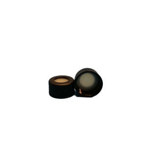 """Black 24-414 Open Top Screw Cap w/ {2pc} ST2510 .125""""(3MM) Thick PTFE/Silicone Septa (Each)"""