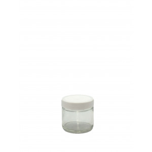 1oz Clear Straight Sided Jar Assembled w/43-400 White PP F-217 Lined Cap (384/cs)