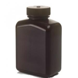 500mL Rectangular Opaque Amber HDPE Bottle, 48-415 PP Screw Thread Closure {Lab Grade} (125/cs)