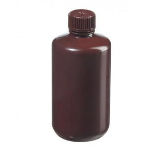 250mL Narrow Mouth Opaque Amber HDPE Bottle, 24-415 Amber PP Screw Thread Closure {Packaging Grade} (250/cs)