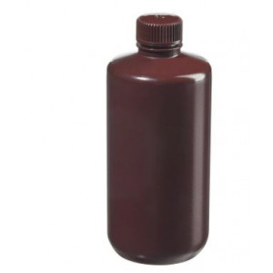 500mL Narrow Mouth Opaque Amber HDPE Bottle, 28-415 Amber PP Screw Thread Closure {Packaging Grade} (125/cs)