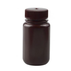 125mL Wide Mouth Opaque Amber HDPE Bottle, 38-415 Amber PP Screw Thread Closure {Packaging Grade} (500/cs)