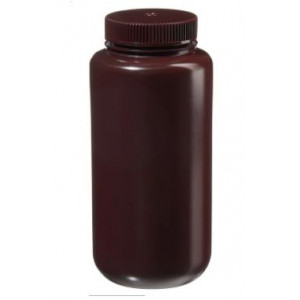 1000mL Wide Mouth Opaque Amber HDPE Bottle, 63-415 Amber PP Screw Thread Closure {Packaging Grade} (50/cs)