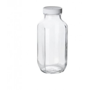 32oz Clear French Square Assembled w/58-400 Poly Vinyl Lined Cap (24cs)