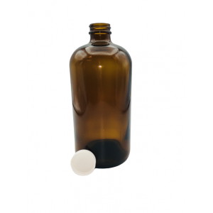 32oz Amber Boston Round Assembled w/33-400 PTFE Lined Cap, Certified (12/cs)