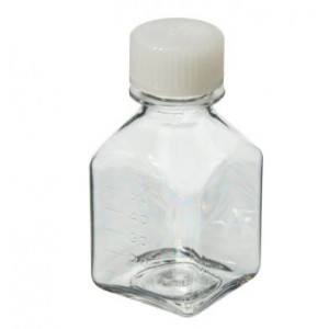 60mL Square PETG Sterile Media Bottle, 24-415 HDPE Screw Thread Closure (200/cs)