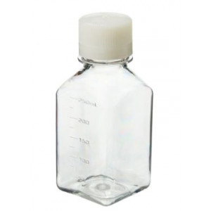 250mL Square PETG Sterile Media Bottle, 38-430 HDPE Screw Thread Closure (60/cs)