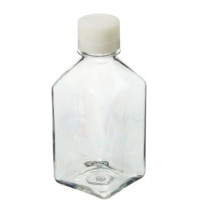 500mL Square PETG Sterile Media Bottle, 38-430 HDPE Screw Thread Closure (40/cs)
