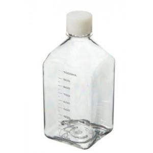 1000mL Square PETG Sterile Media Bottle, 38-430 HDPE Screw Thread Closure (24/cs)