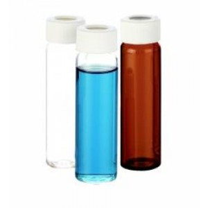 40mL Amber VOA Vial w/24-414 Open Top Cap w/Bonded PTFE/Silicone Septa {Certified} (80/cs)