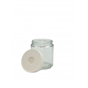4oz Clear Straight Sided Short Jar w/ 58-400 Open Top Cap w/Septa {Certified} Bar Coded w/ labels (24/cs)