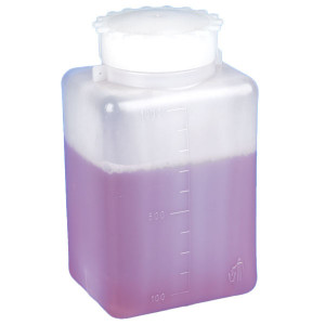 Bottle with Screwcap, Wide Mouth, Square, Graduated, PE (Cap: PP), 1000mL, 6/Unit