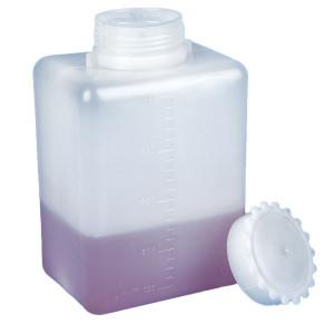Bottle with Screwcap, Wide Mouth, Square, Graduated, PE (Cap: PP), 2000mL, 6/Unit