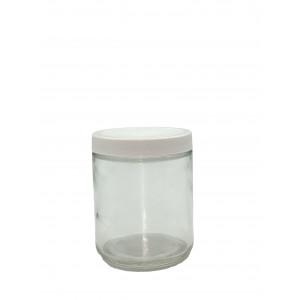 8oz Clear Straight Sided Jar Assembled w/70-400 PTFE Lined Cap, Bar Coded, Certified (12/cs)