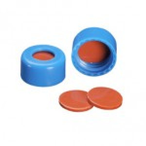 BLUE CAP WITH FEP/NATURAL RUBBER SEPTA FOR USE WITH 9mm GC VIALS(100pk)