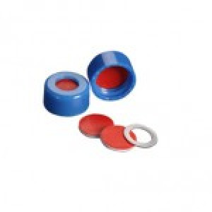 "ST535DF .040"" (1MM) Thick Red PTFE / White Silicone / Red PTFE inserted into a Blue 9mm ribbed screw cap (100/pk)"