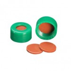9mm AVCS Green Target DP Cap w/Ivory PTFE/Red Rubber Septum (100/pk)