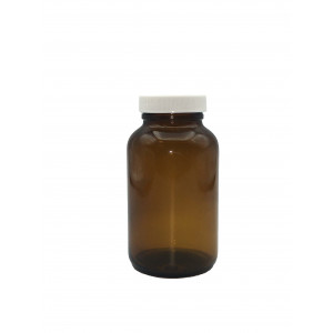 250mL Amber Wide Mouth Packer Assembled w/45-400 F-217 Lined Cap (24/cs)