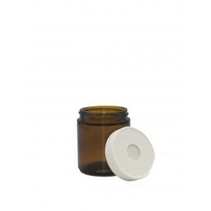 4oz Amber Straight Sided Jar Assembled w/58-400 Open Top Bonded T/S Septa Cap, Certified, Bar Coded (24/cs)