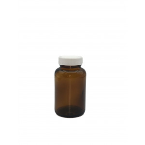 120mL Amber Wide Mouth Packer Assembled w/38-400 Black F-217 Lined Cap (24/cs)