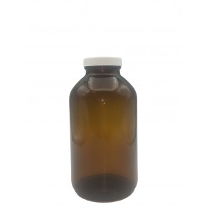 1000mL(True One Liter) Amber Wide Mouth Packer Assembled w/53-400 PTFE Lined Cap, w/5mL 1:1 HCL, Certified (12/cs)