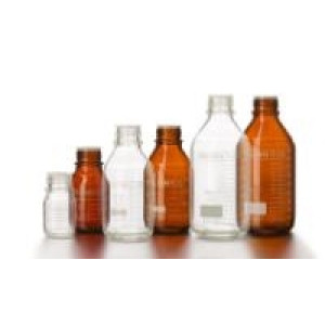 250mL Duran Pure Media Bottle, Clear Type 1, 3.3 Borosilicate Glass, Graduated, Documented Lot #, Protective Dust Cover, GL45, Caps Sold Separately (10cs)