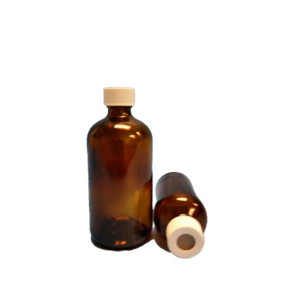 4oz Amber Boston Round Assembled w/Open Top Bonded T/S Septa Cap, A1 Certified, Bar Coded, Labeled (24/cs)
