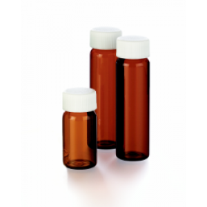 20mL Amber VOA Vial Assembled w/Open Top Bonded T/S Septa Cap, Certified (72/cs)