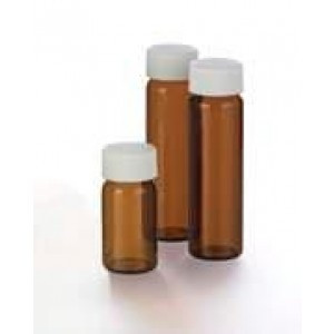 20mL Amber Storage Vial Assembled w/24-400 Solid Top PTFE Lined Cap, NO Partitions (100/pk)