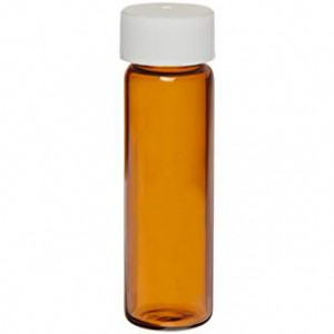 8ml Amber Assembled Vial w/15-425 Solid Top PTFE Lined Cap, 200/pk